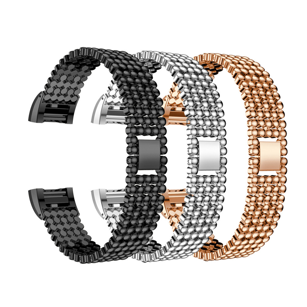 Watchband Steel Bead Style Bracelet Smart Watch Band Strap For Fitbit Charge 2 Metal watchband Silver black gold drop shipping