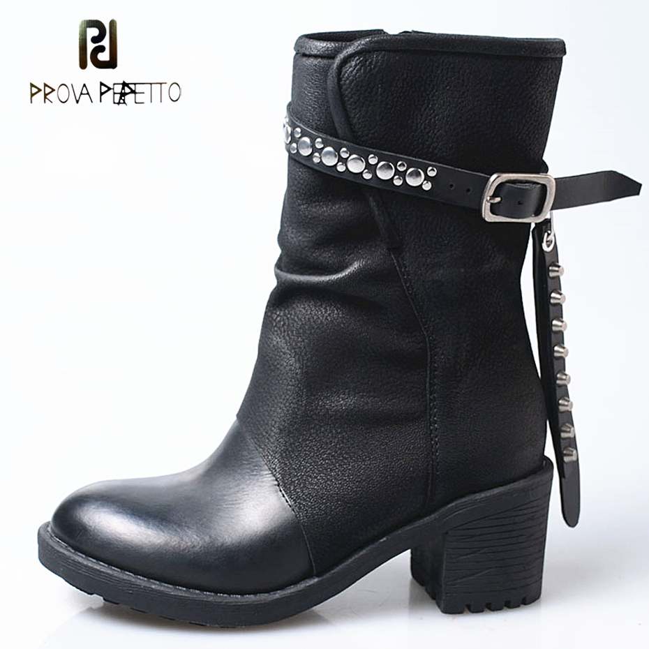 Prova Perfetto 2018 new genuine leather do old short boots women rivet stud belt buckle high heel motorcycle boots mujer zapatosProva Perfetto 2018 new genuine leather do old short boots women rivet stud belt buckle high heel motorcycle boots mujer zapatos