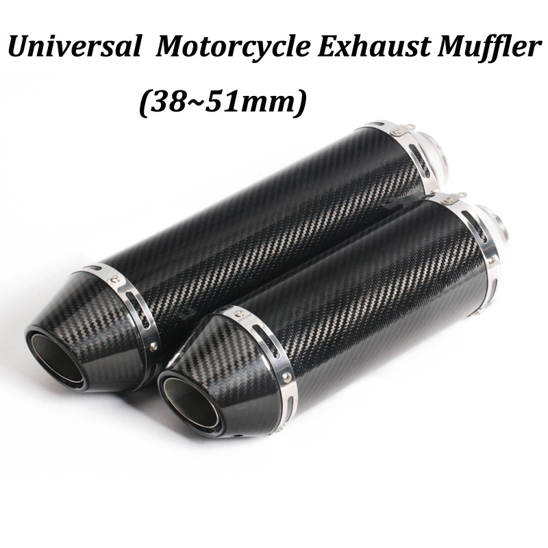 350mm 430mm Universal Motorcycle Exhaust Muffler Modified With Real Carbon Fiber original Brand Sticker For Moto Escape