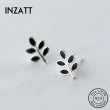 INZATT минималистичные черные эмалированные крошечные серьги-гвоздики в форме растения, серебро 925 пробы, предотвращают аллергию для женщин, ювелирные изделия