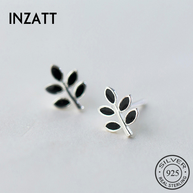 INZATT Minimalist Black Enamel Tiny Leaf Tree Stud Earrings 100% 925 Sterling Silver Prevent Allergy For Women FINE Jewelry