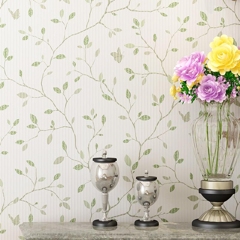 Campagne Rustique Mur Papiers Feuilles décoration d'intérieur Bleu Vert Arbre Rose Papier Peint Rouleau pour Salle De Mariage Chambre Décoration Murale