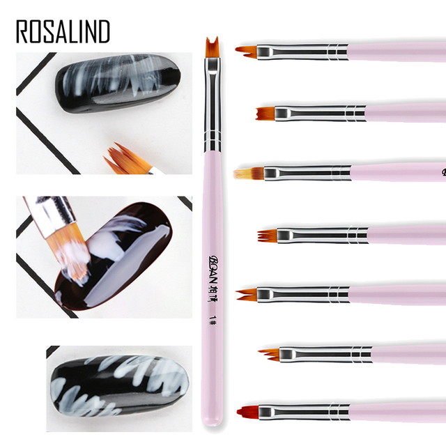 ROSALIND 1PCS 8 Pattern Optional Gel Varnish Flower Drawing Acrylic Nail Brush For Manicure Design Of Nails Art Extension Tool