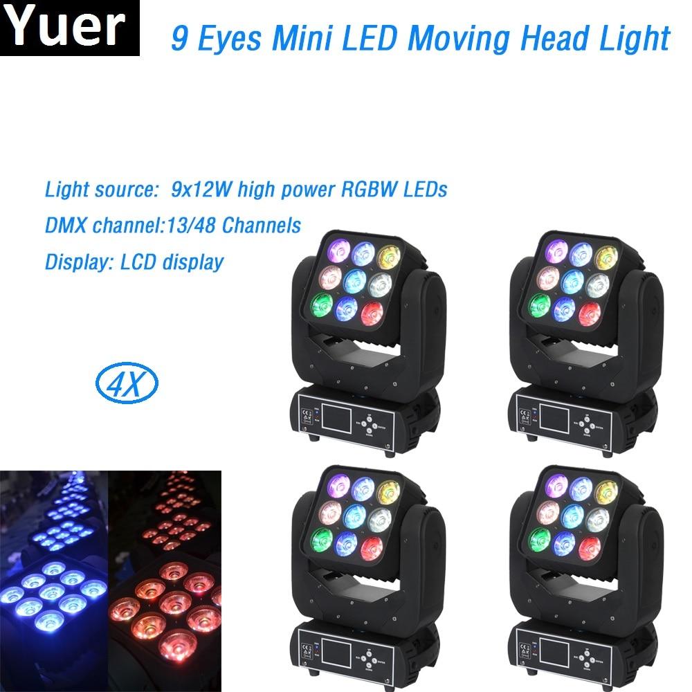 4Pcs/Lot RGBW 9x12W LED Matrix Moving Head Light 13/48 Channels DMX512 for Stage TV theatre TV studio Rental DJ Disco Nightclub