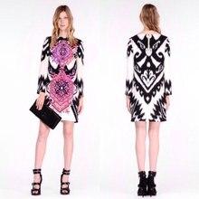 Women's new Italian fashion beautiful printing knitting SILK JERSEY  slim party dress