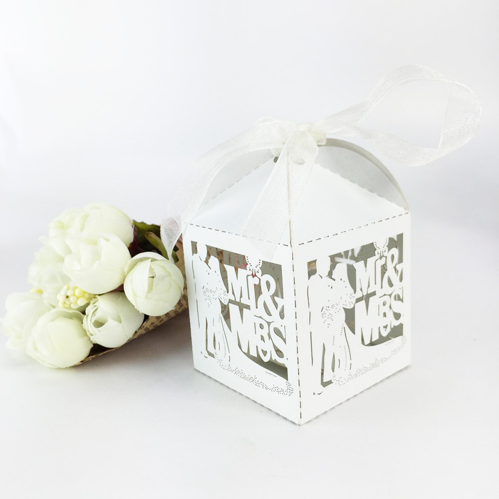 Ξ100 Pcs Wedding Favors Candy Box Paper Laser Cut Gift Boxes For ...