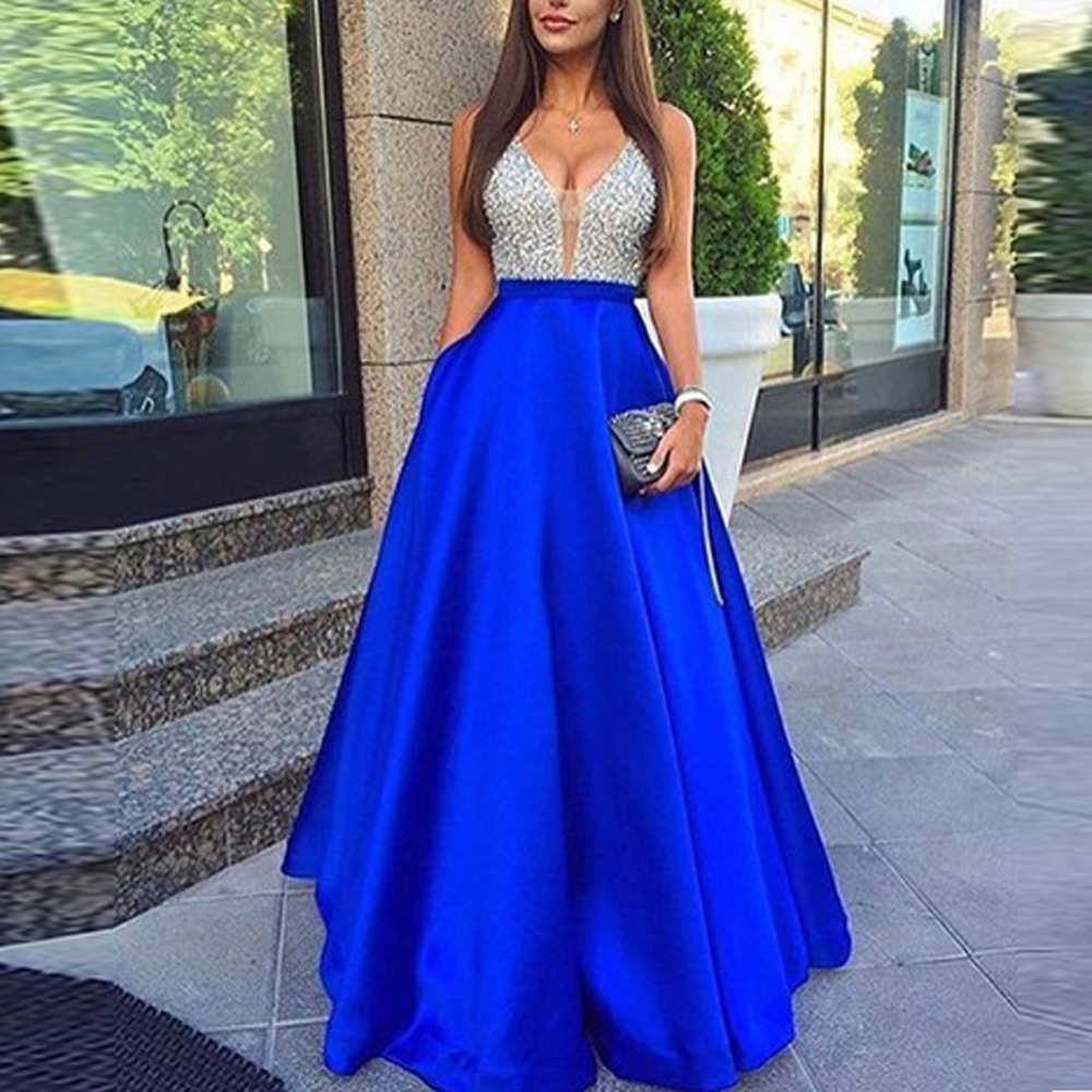 Women's Sequined Long splice Wedding Party Dress Sleeveless V-neck Blue A-line Elegant Chiffon Dresses Bridesmaid Dinner Dress