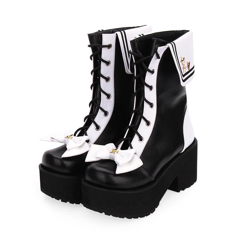 Fashion Winter Women High Heels Platform Lolita Short Boots New Zipper College Muffin Shoes Female Gothic Navy Boots