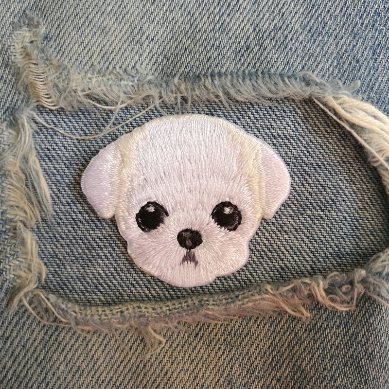 1 PIC 4.4*3.7CM Embroidery Subsidy Computer Embroidery Chapter DIY Maltese DOG Badge Motorcycle Clothing Patch