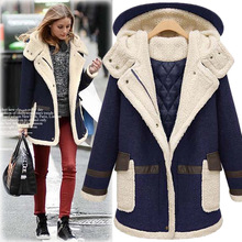 and the United States large size women 2016 winter new lamb wool coat jacket thickened in the long loose thin cotton