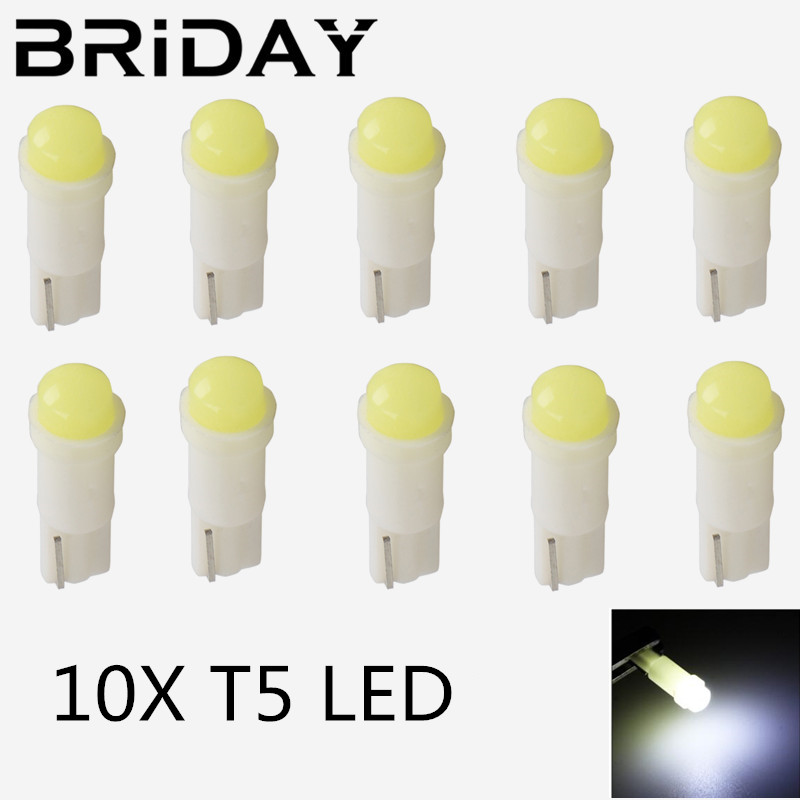 10PCS T5 58 73 74 286 W1.2W 3D COB Led Wedge Dashboard Gauge Lamps Ceramic Car Warning Indicator Instrument Cluster Lights Bulb