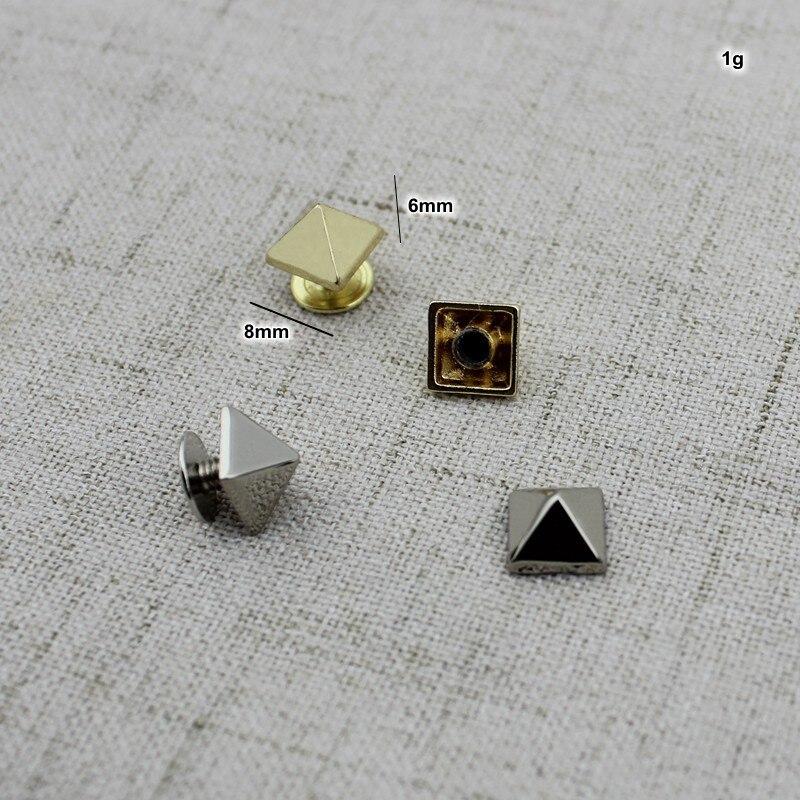 50pcs 10pcs 8mm Copper Metal Screw Type Pyramid Rivet Bag Studs Perforated Copper Rivet Button