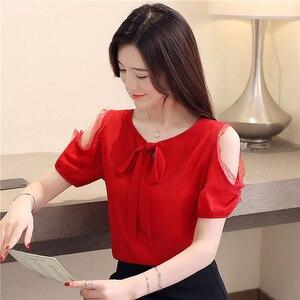 Image 4 - Blusa de chifón de manga corta para verano, Camisa de gasa para mujer, 2019