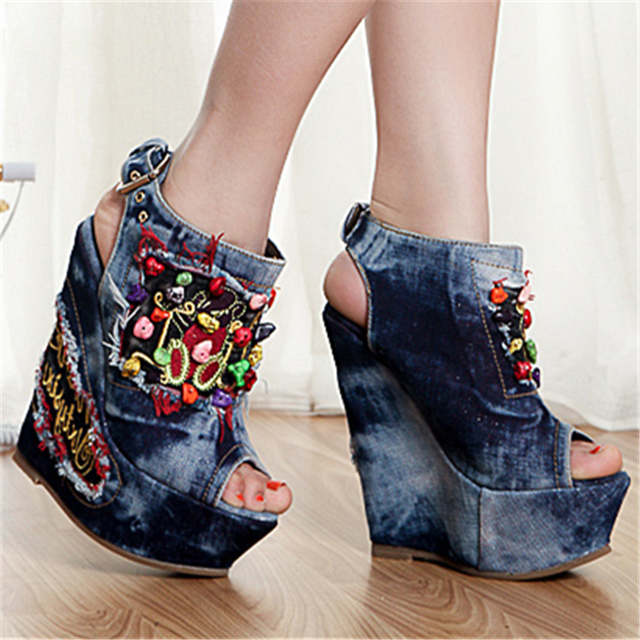 110c4f3a315b Online Shop Mabaiwan New Designer Summer Wedge Shoes Woman Embroidery  Flowers Stone High Heels Peep Toe Denim Sandals Platform Pumps Wedges