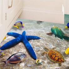 AsyPets съемный пляж море 3D стикер стены, 60x90 см, водонепроницаемый Морская звезда пол наклейка s настенные наклейки для детской комнаты декор-30