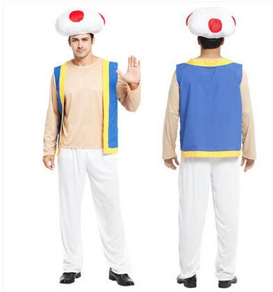 Free Shipping Fashionable Super Mario Bros Toad(Kinopio) Adult Cosplay Costume For Halloween Christmas