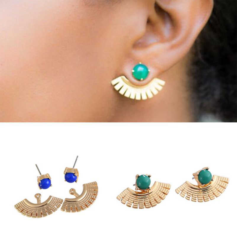 Shuangshuo Fashion Design Blue Stone Earring Jackets Geometric Earrings for Women Sector Earrings Simple Metal Ear Jewelry