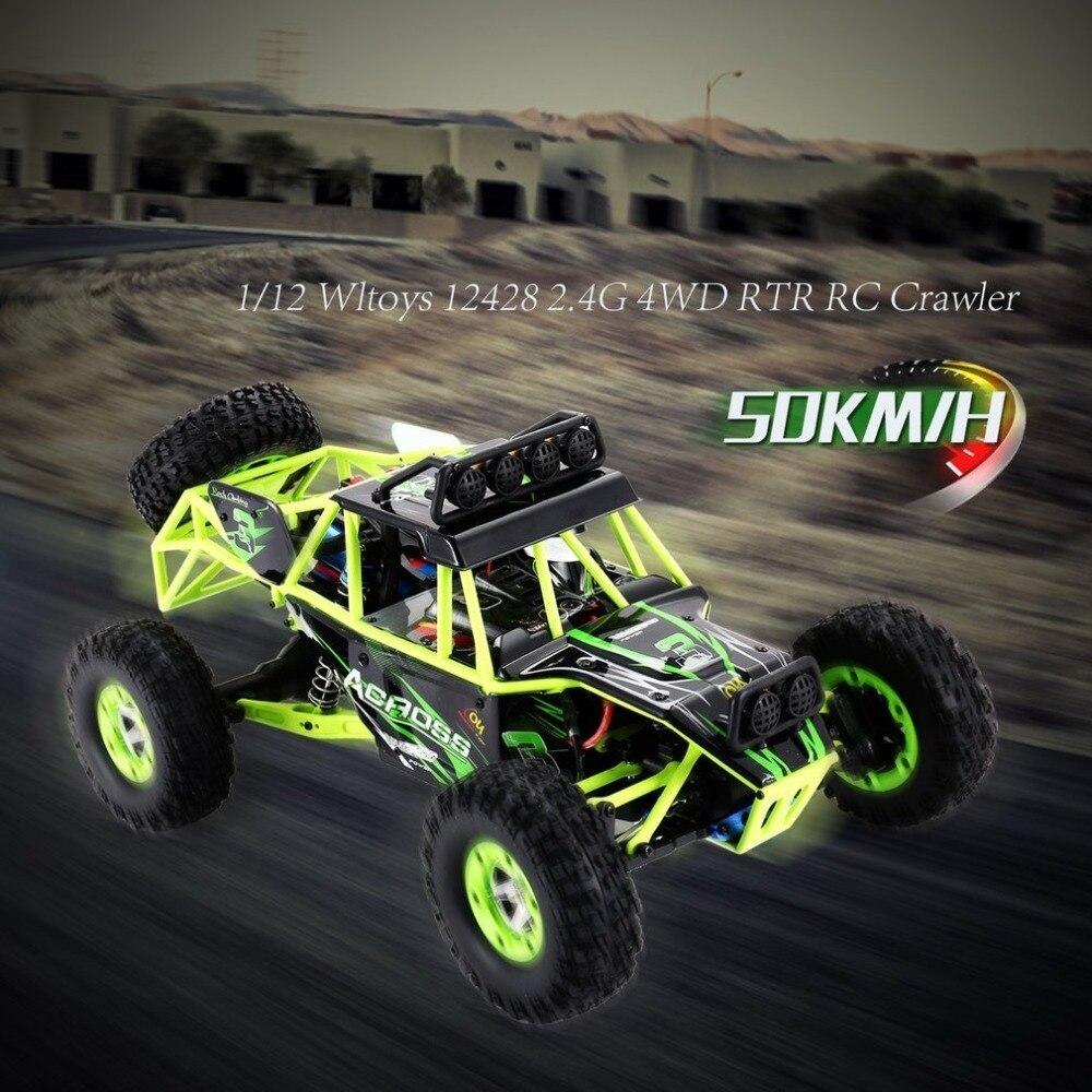 Wltoys 12428 haute vitesse 50 km/h 1/12 2.4G 4WD électrique brossé chenille désert camion RC tout-terrain Buggy véhicule avec lumière LED