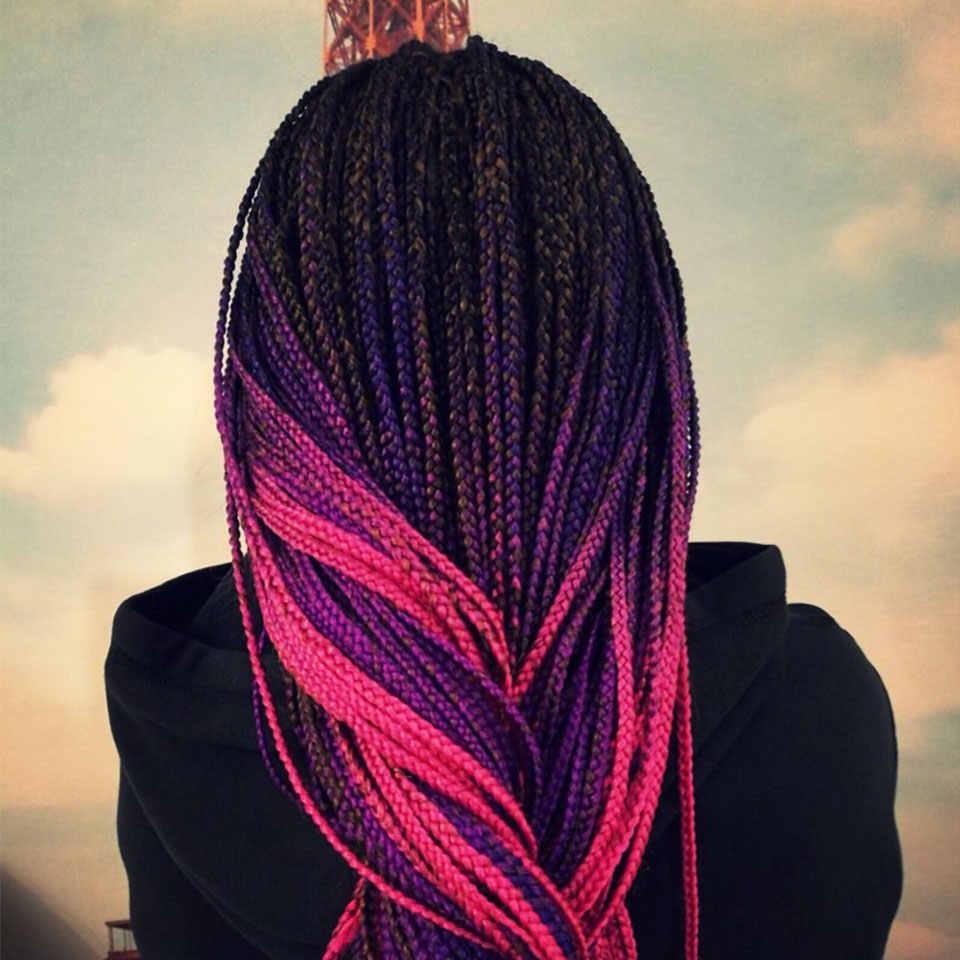 MoKoGoddess Ombre Flechten Haar Grau Rosa Blonde Lila Jumbo Zöpfe Synthetische Häkeln Geflecht Haar Verlängerung