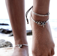 European and American new national retro wind starfish rune om yoga pendant anklet beach foot ring