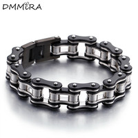 Hot Sale Fashion Men Bike Chain Bracelet Silver Gold Black Stainless Steel Link Bicycle Bike Chain Bracelets Jewelry For A Gift