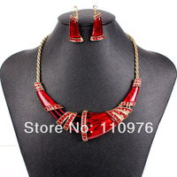 MS17829 Fashion Brand Jewelry Sets Gold Plated Red Oxhorn Design Bridal Jewelry High Quality 2014 New