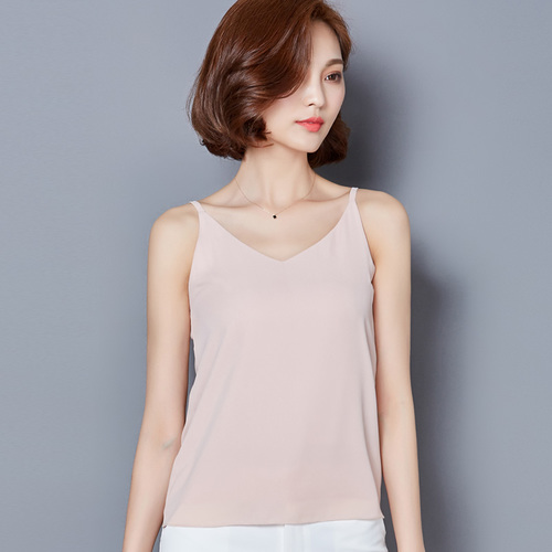 J41595 New Arrival 2019 Summer All Match Solid Color Chiffon Basic Shirt