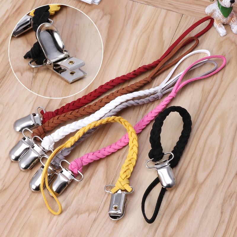 Leather Pacifier Clip Chain Nipple Dummy Clip Pacifier Holder Braided Binky Clip anti-lost strollor chain   Leather Pacifier Clip Chain Nipple Dummy Clip Pacifier Holder Braided Binky Clip anti-lost strollor chain
