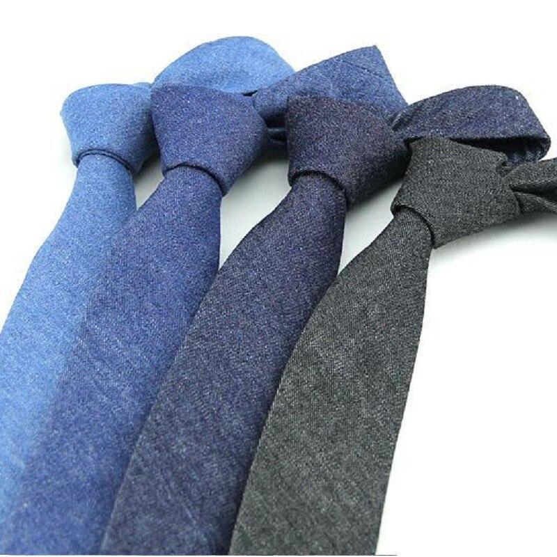 6cm Solid Men's Necktie Cotton Ties Man Blue Cowboy Tie Ascot Neckwear Business Suit Shirt Accessories For Men