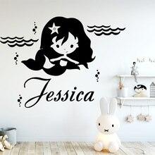 Cartoon Mermaid Customized Name Wall Sticker Vinyl Decor For Kids Rooms Girls Bedroom Decals Murals