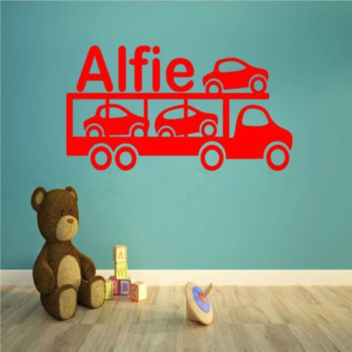 free shipping Car Transporter Lorry Personalized Any Name Kids Bedroom Wall Art Decal Truck Wall Sticker Home Decoration tx-473