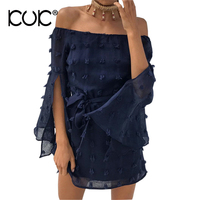 Kuk Hippie Boho Chic Dresses Beach Tunic Clothing Long Sleeve Split Belt Chiffon Off Shoulder Dress