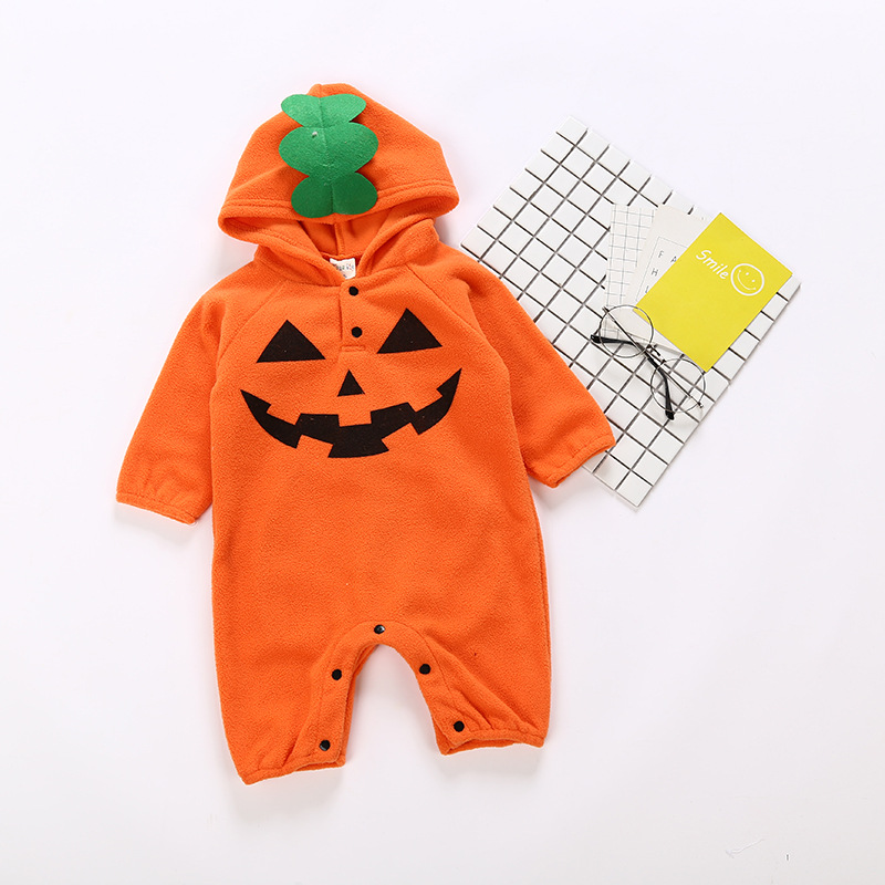 Baby Autumn Winter Rompers Thick Warm Fleece Jumpsuit Halloween Clothing Bat Baby Clothes Hoodies Coat Bebe Baby Boy Rompers