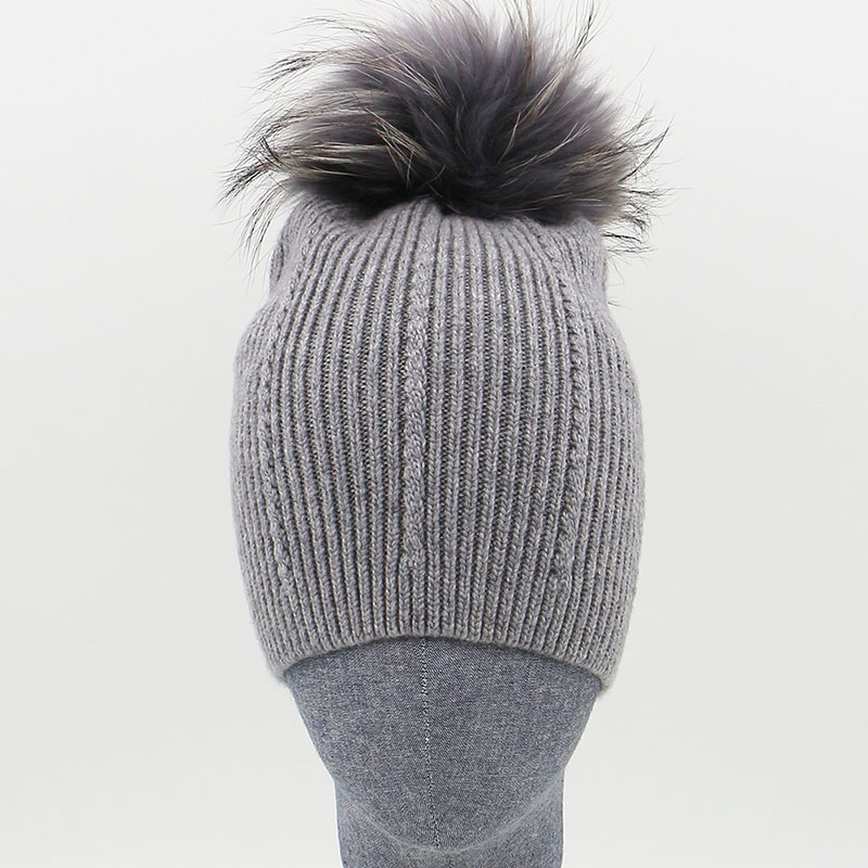 1040449a10c Big Real Fur Pom Pom Hat Winter Womens 100% Wool Hats Gray Fur Pompoms Knitting  Beanie Hats For Gilrs Accessories-in Skullies   Beanies from Apparel ...