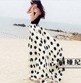 2017 NUEVAS Mujeres del Verano Falda de Gasa de Lunares impresión de Bohemia Princesa Plisada Maxi Faldas Largas, más tamaño 90-110 cm