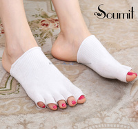 Breathable Stretchy Half Invisible Peep Toe Cotton Protective Socks With Gel For Spa Soften Your Feet
