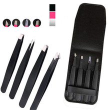 4 Sets Of Hot Eyebrow Tweezers Stainless Steel Pointed / Tilted Pointed / Flat Hair Removal Makeup Kit