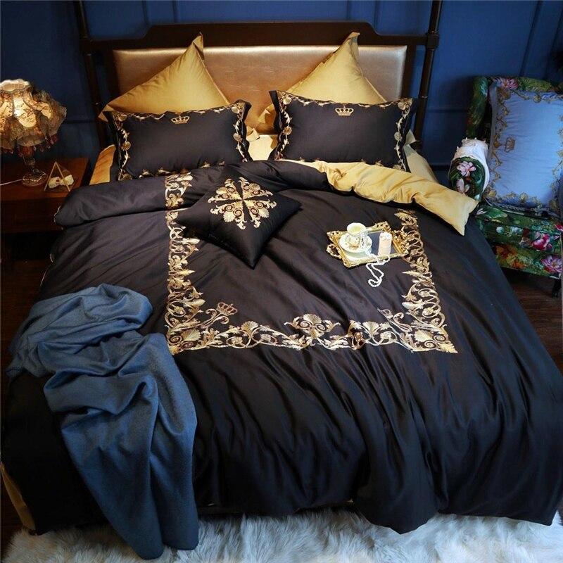 Luxe egypte coton noir or couronne ensemble de literie broderie soyeuse housse de couette ensembles drap de lit taies d'oreiller reine roi taille 4/6/7 Pc