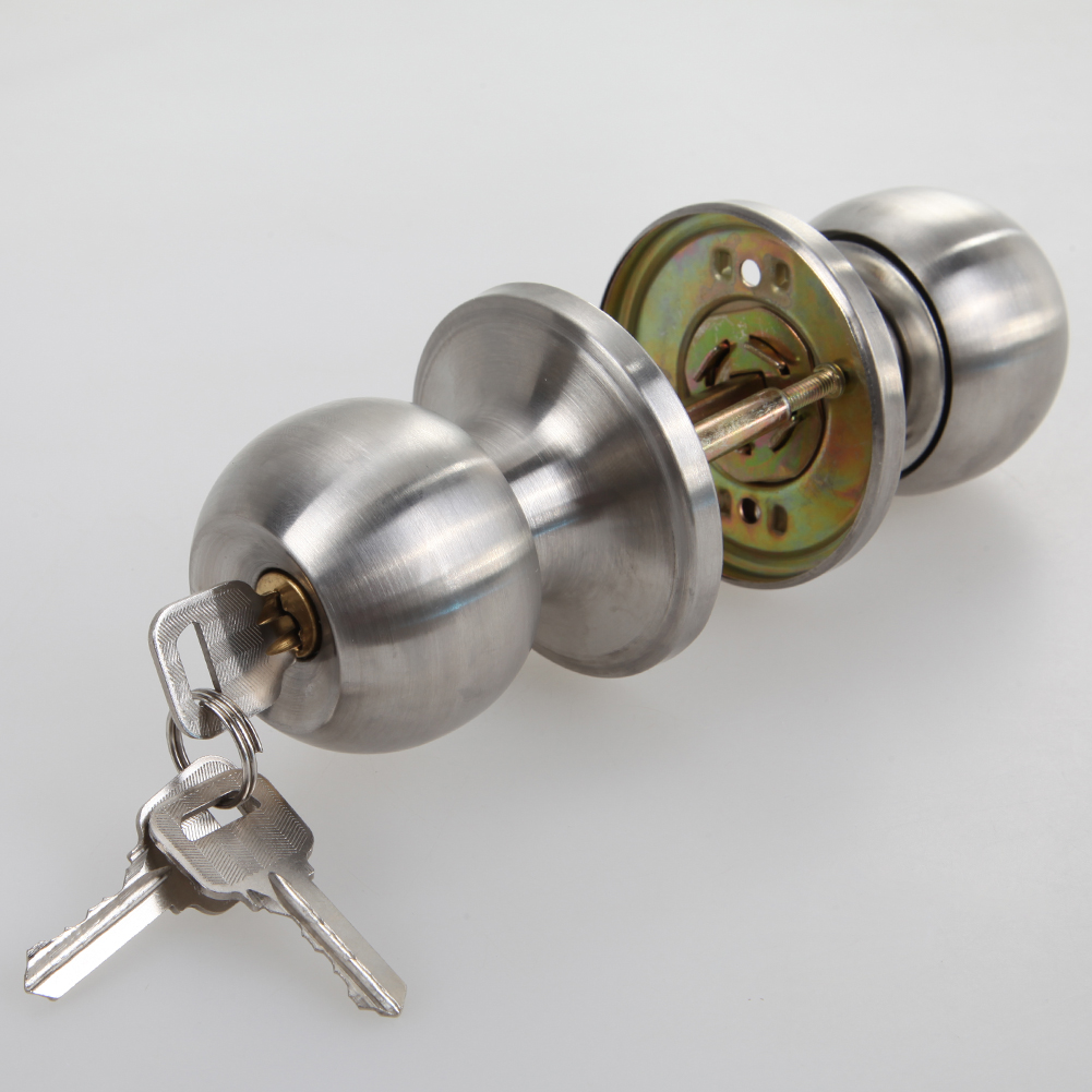 Round Door Handle Door Knobs Lock Stainless Steel Entrance Passage