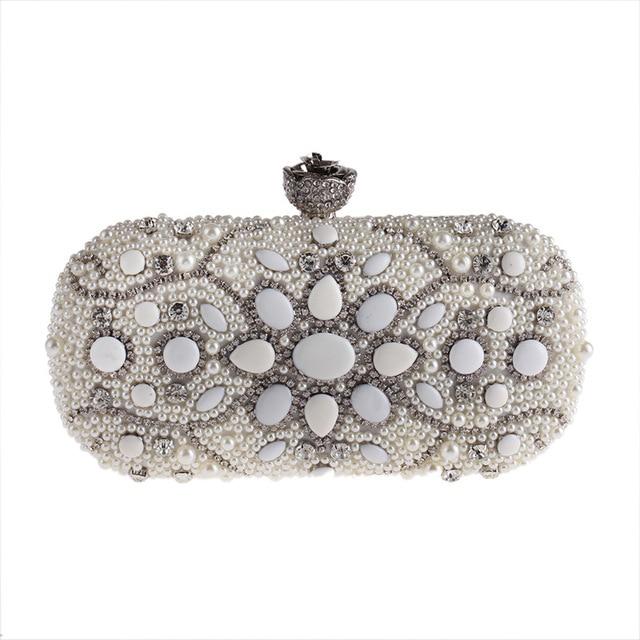 Pearl Beading Flower Bling Gem Stone Diamond Bridal Wedding Evening Bags Rhinestones Luxurious Handmade Party Clutch