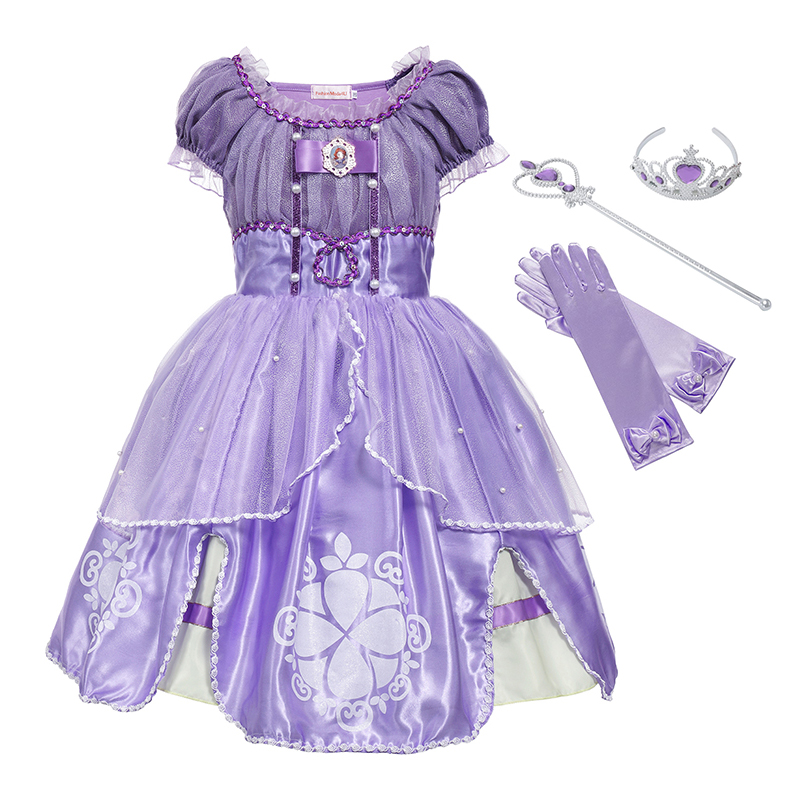 YOFEEL Cute Princess Sofia Cosplay Costume Summer Dresses Good Quality Fancy Floral Halloween Party Tutu Children Kids Ball Gown