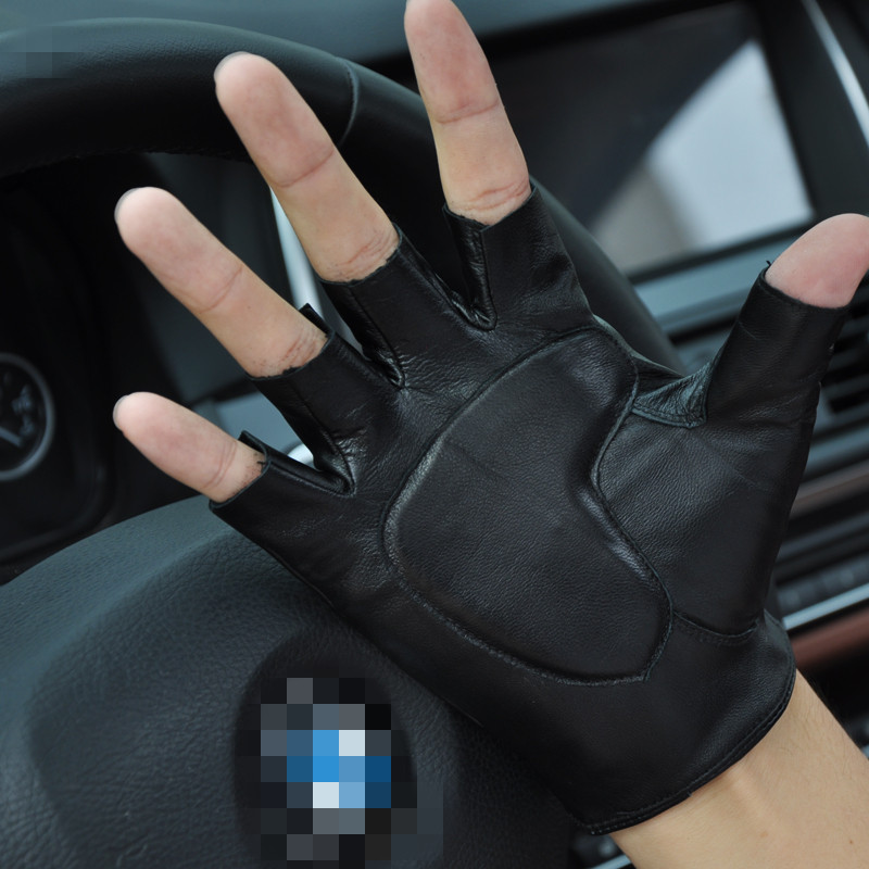 Купить с кэшбэком Freeshipping 2 pairs semi-palm genuine leather gloves safetywork protecting wear-resistant driving gloves suit for fitness dance