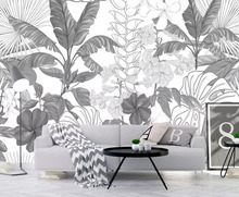 Beibehang Black and white tropical rainforest banana leaves garden wallpaper bedroom living room TV background wall 3d wallpaper beibehang southeast asia tropical rainforest leaves background wallpaper living room bedroom tv background mural 3d wallpaper