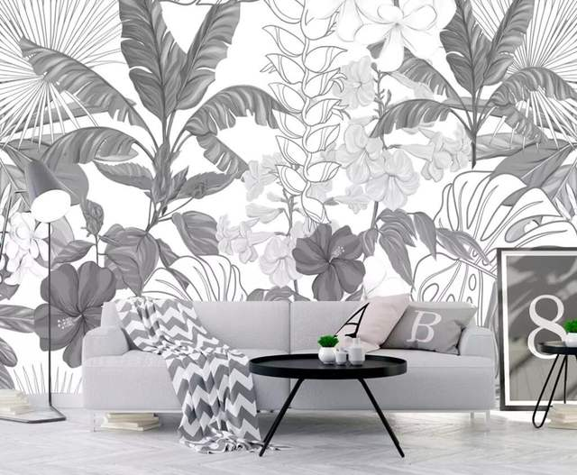 US $8.85 41% OFF|Beibehang Black and white tropical rainforest banana  leaves garden wallpaper bedroom living room TV background wall 3d  wallpaper-in ...