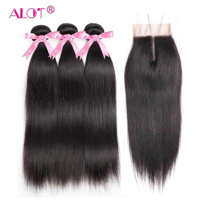 Alot Hair Peruvian Straight Human Hair Bundles With Lace Closure Middle Part Natural Black 3 Bundles Hair Weaves Non Remy Hair
