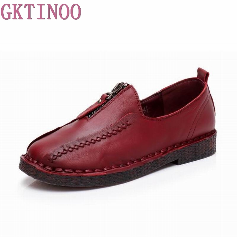 GKTINOO Spring Autumn Woman Shoes Flat Genuine Leather Slip on Ballet Flats Anti-slip Ladies Flat Shoes Female Footwear cresfimix zapatos women cute flat shoes lady spring and summer pu leather flats female casual soft comfortable slip on shoes