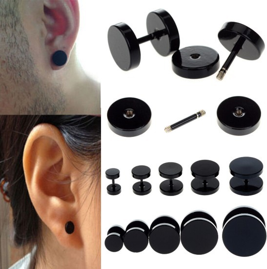 10pcs Plain Stainless Steel Stud Bar Barbell Punk Rock Men Fake Earrings Plug New