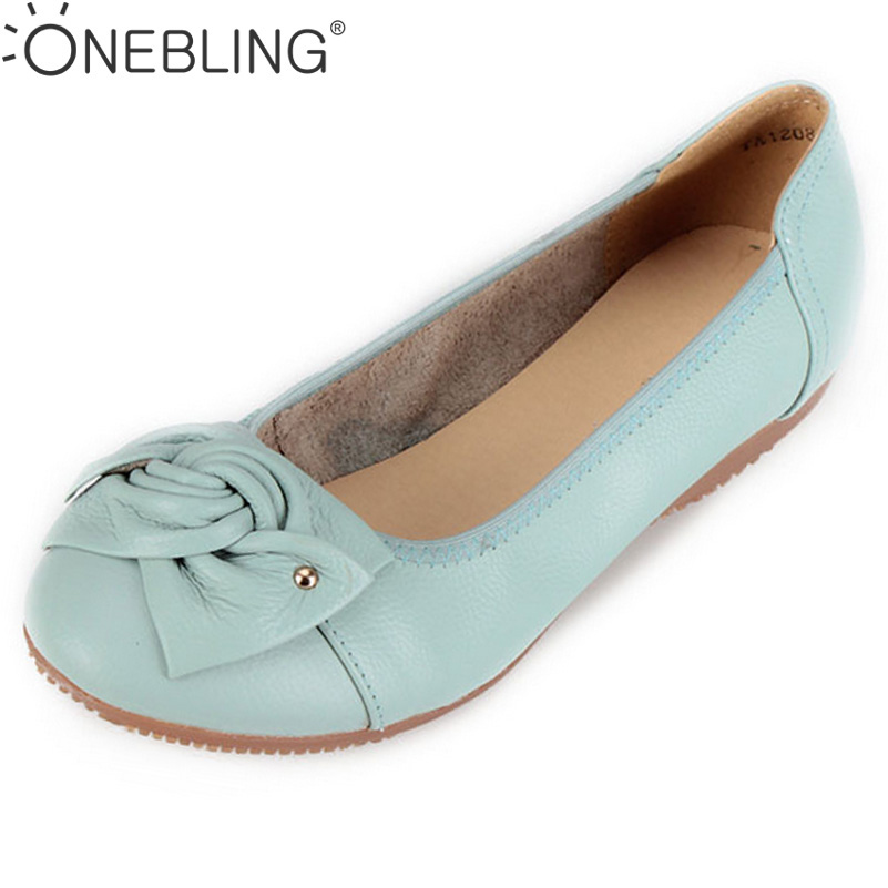 Plus Size 34-43 Genuine Leather Women Shoes 2017 Fashion Women Flat Shoes Classi Shallow Bowknot Female Casual Outdoor Shoes aiyuqi 2018 spring new genuine leather women shoes shallow mouth casual shoes plus size 41 42 43 mother shoes female