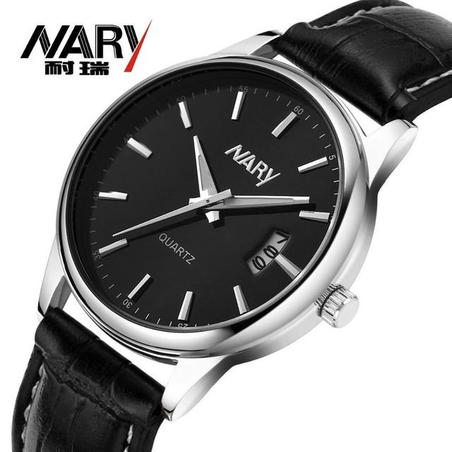 NARY Marca de Moda Relógios Calendário Homens de Negócios Relógios De Quartzo-Relógio relógio de Pulso À Prova D' Água Relogio masculino reloj hombre