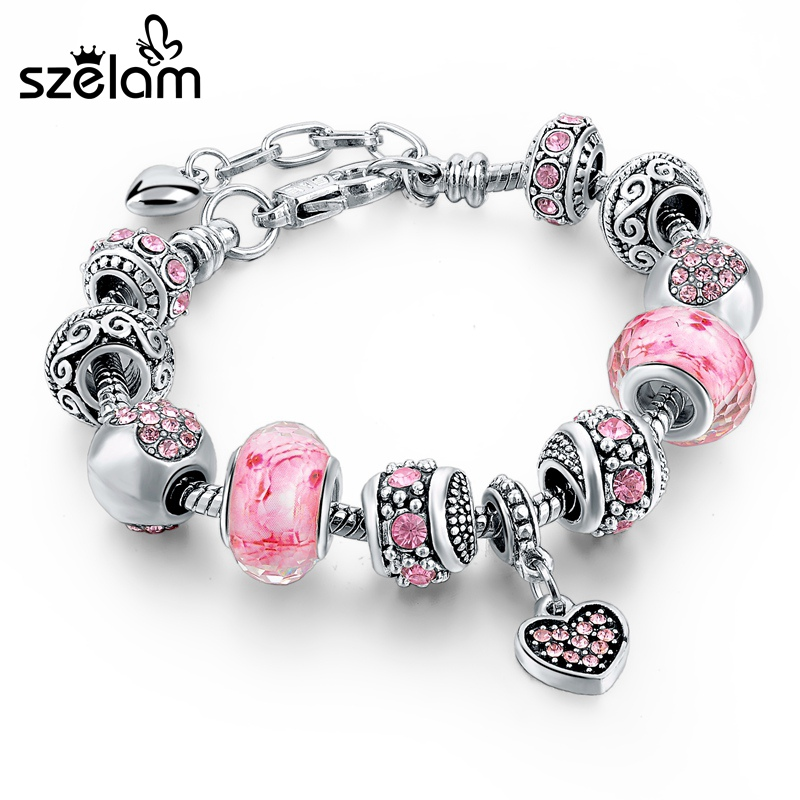 Szelam rózsaszín szív kristály charm női karkötők 925 ezüst lánc karkötők és karkötők nőknek Femme Pulsera Sbr160073